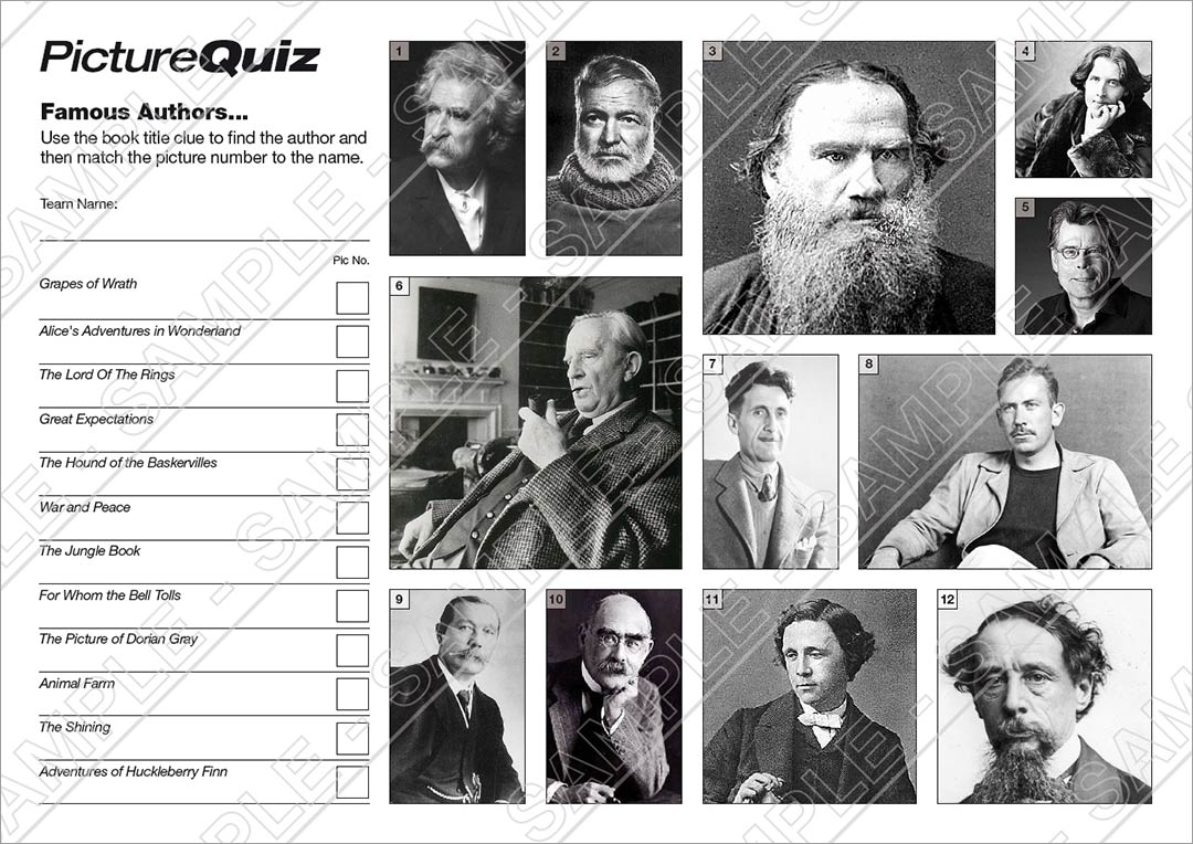 Quiz Number 005 with Famous Authors Picture Round