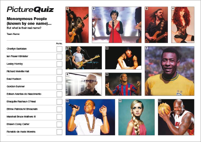 Quiz-013---Mononymous-People-S