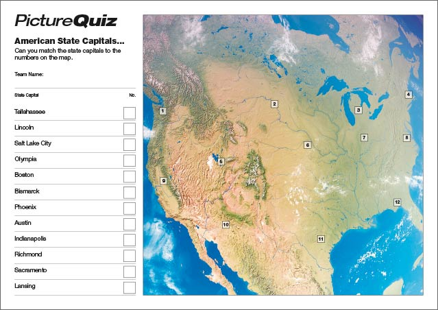 Quiz 025 - American State Capitals Small