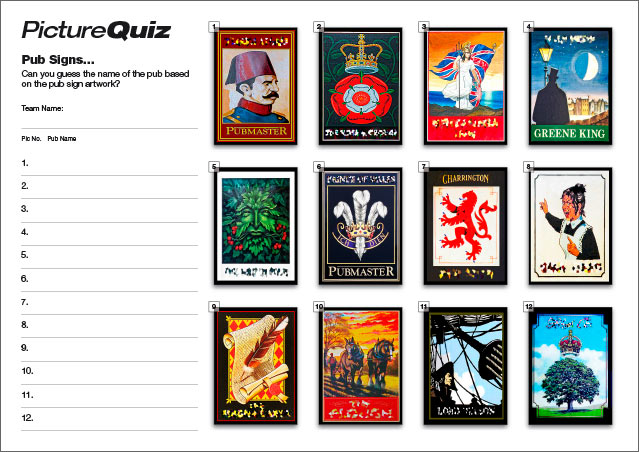 Quiz 073s Pub Signs Picture Round