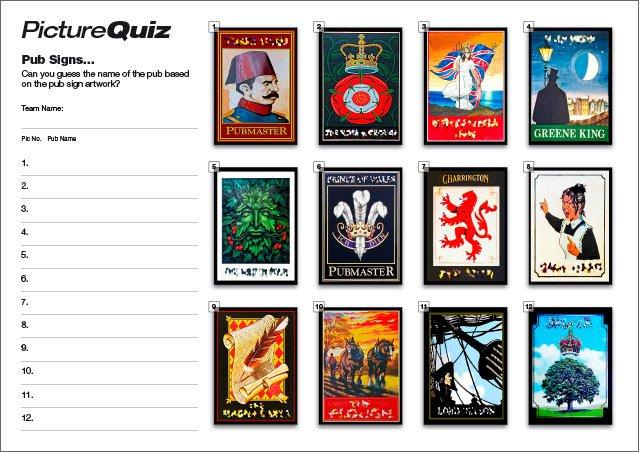 Quiz 073s Pub Signs Picture Round