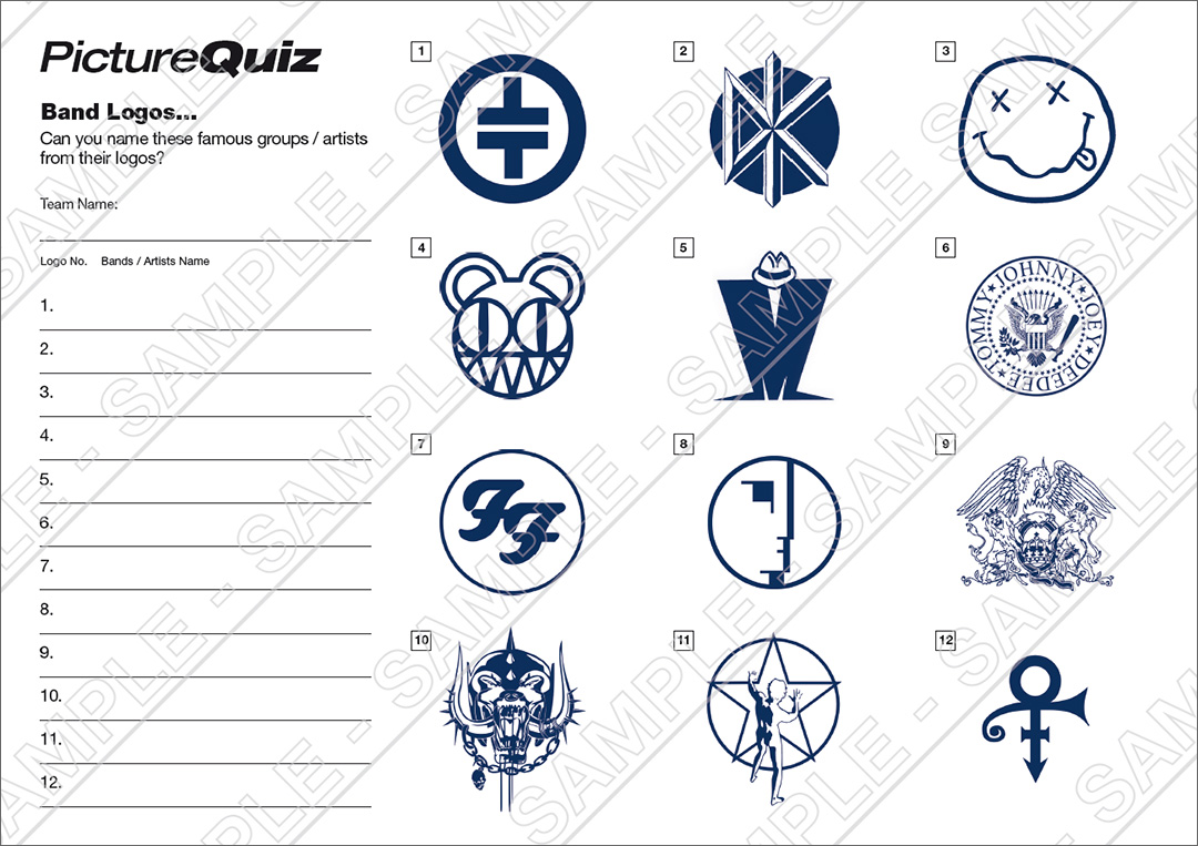 Quiz Number 077 with a Band Logos Picture Round