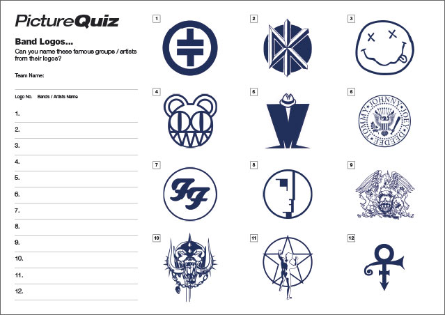 Quiz 077s Picture Round is Band Logos.