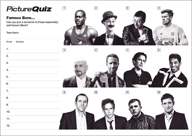 Quiz 078s Picture Round is Famous Bens.