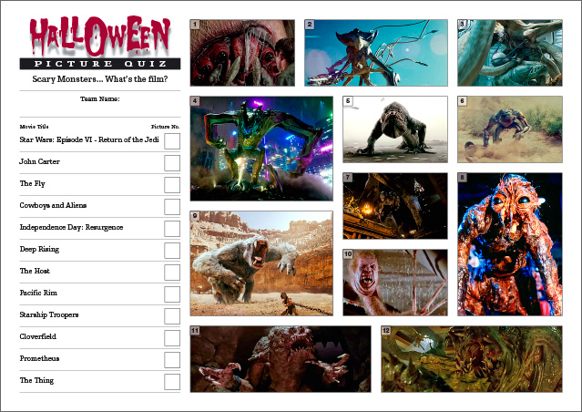 Halloween Quiz - Scary Monsters Picture Round
