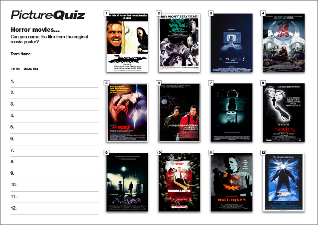 Quiz 083s Picture Round is famous Horror Movies Posters... recognise them?