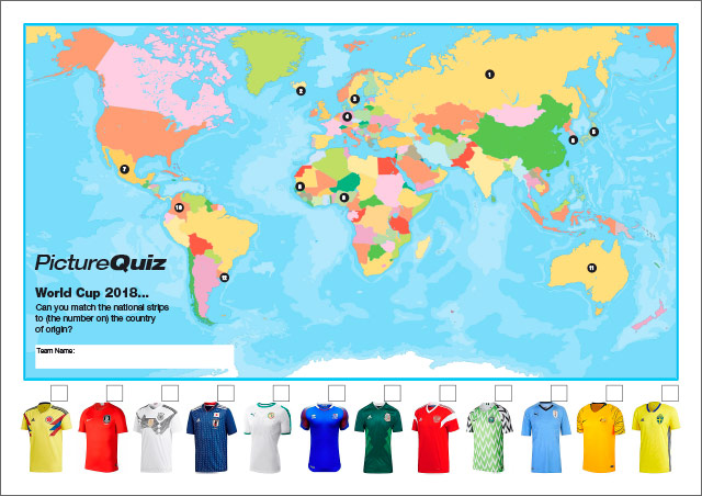 Quiz 084s Picture Round is World Cup Geography – can you match the national shirt to the country's location on the world map?