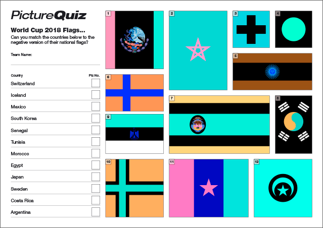 Quiz 085s Picture Round is World Cup Flags... but in negative. Can you match the country to the flag in negative?