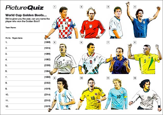 Quiz 086s Picture Round is World Cup Golden Boot Winners – can you name the players?