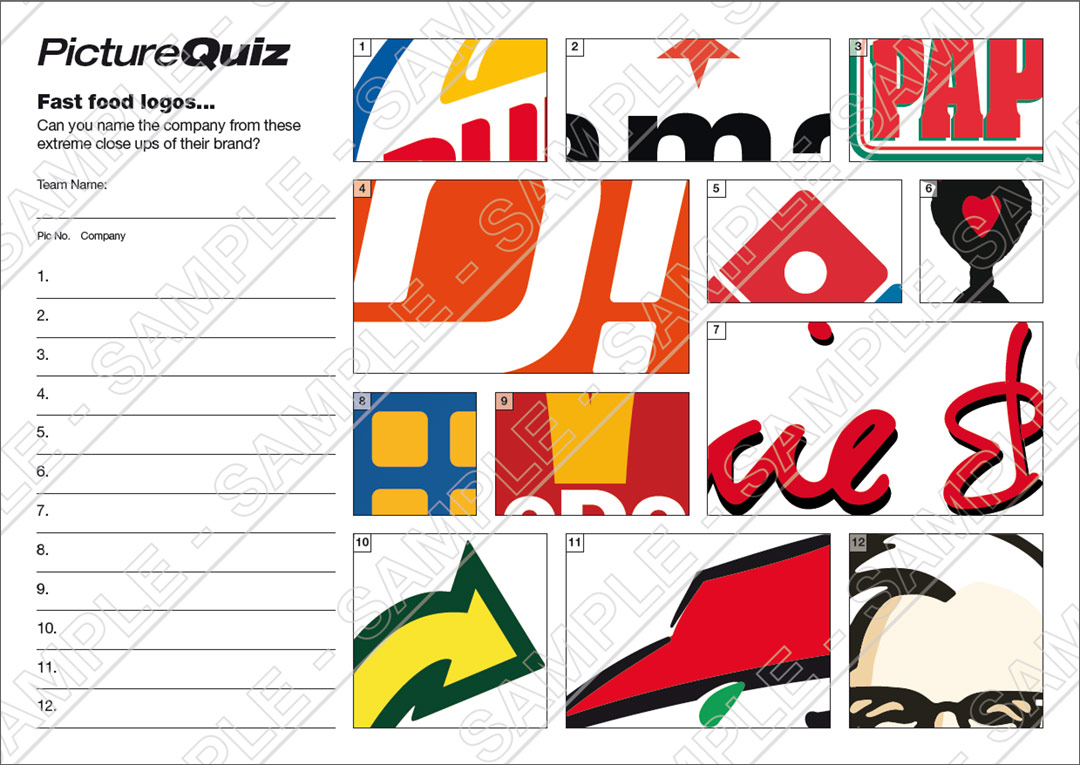 Quiz Number 087 With A Fast Food Logos Picture Round