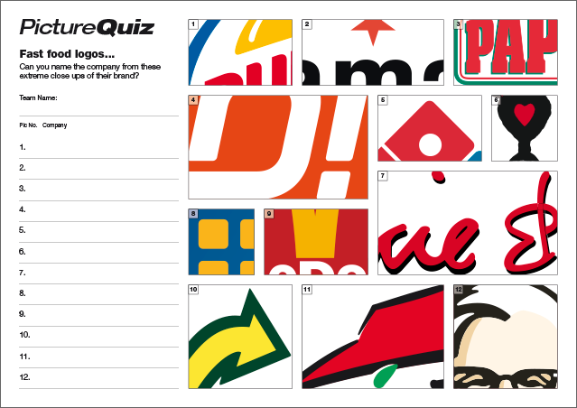 Quiz 087s Picture Round is extreme close-ups of Fast Food Logos – can you name the companies?