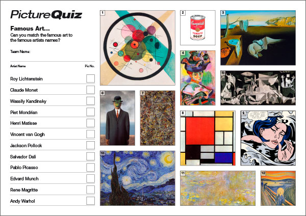 Quiz 088s Picture Round is some Famous Art – can you match the name of the artist with the picture?