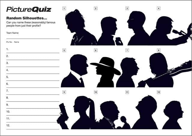 Quiz 089s Picture Round is Famous Silhouettes – can you name the people?