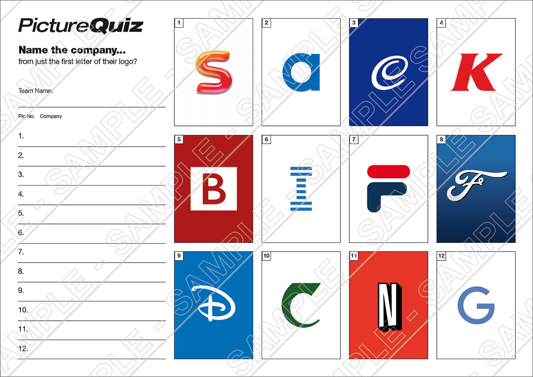 quiz number 090 with a brand typography picture round