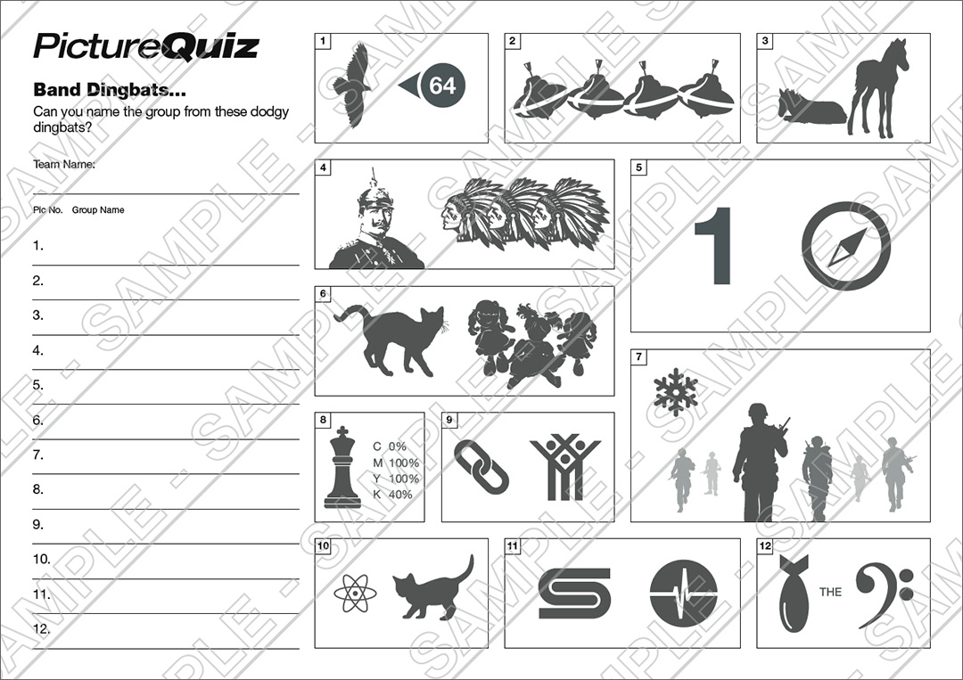 Quiz Number 092 With A Band Dingbats Picture Round