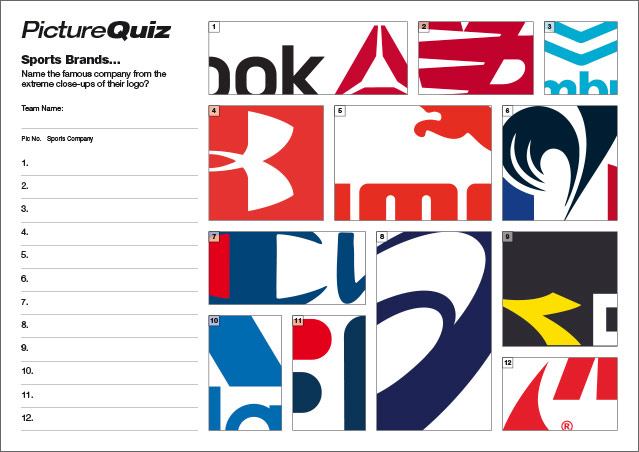 Quiz 094s Picture Round – Sports Brands