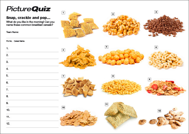 Quiz 096s Picture Round – Breakfast Cereals