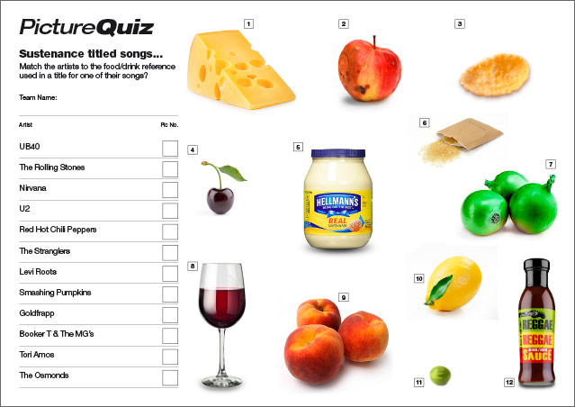 Quiz 097s Picture Round – Sustenance Titled Songs