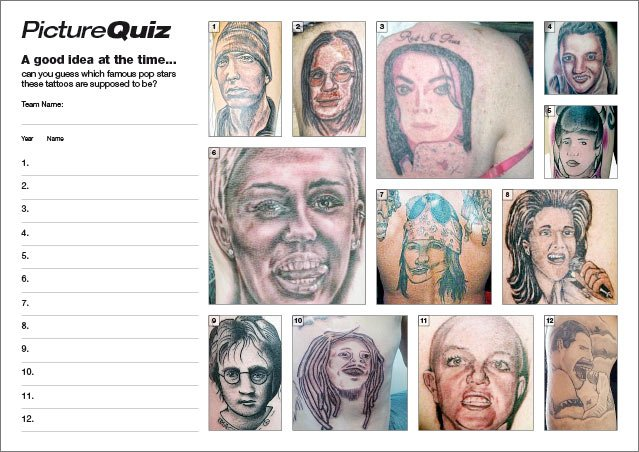 Quiz 103s Bad Tattoos of Pop Stars Picture Quiz