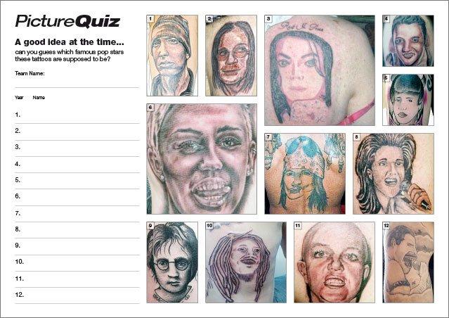 Quiz 103s Bad Tattoos of Pop Stars Picture Round