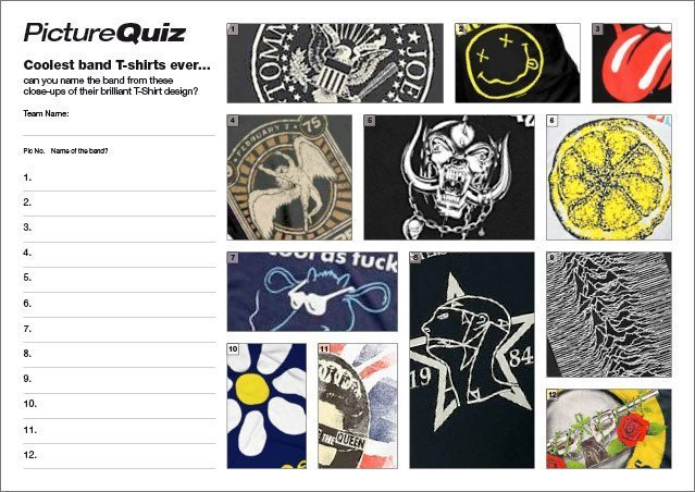 Quiz 104s Coolest Band T-Shirts Ever Picture Quiz