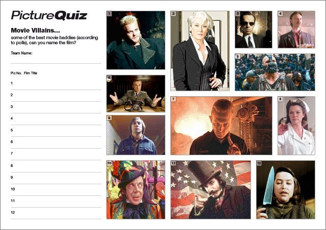 Quiz 107s Movie Villains Picture Quiz