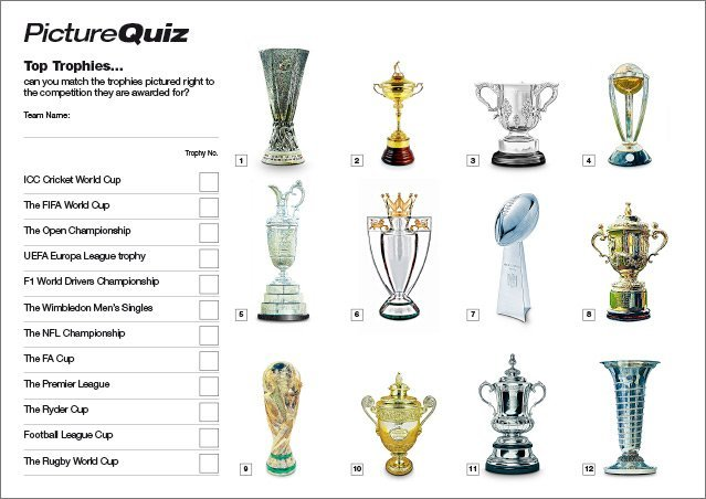 Quiz 108s Top Trophies Picture Round