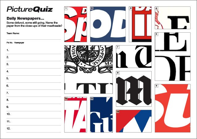 Quiz 111s Newspaper Mastheads Picture Round