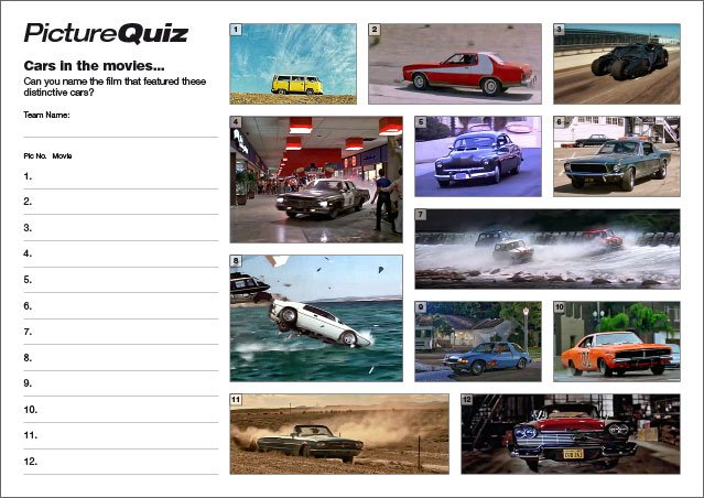 Quiz 124s Cars in the Movies Picture Round