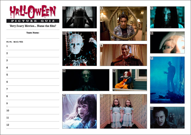 Halloween Quiz - Scary Movies Picture Round Small