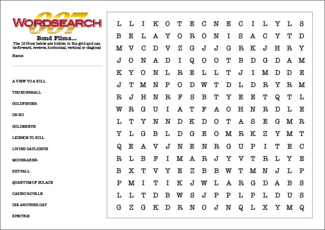 Bond-Films-Wordsearch