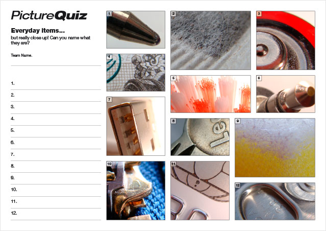 Extreme Close Ups Picture Quiz