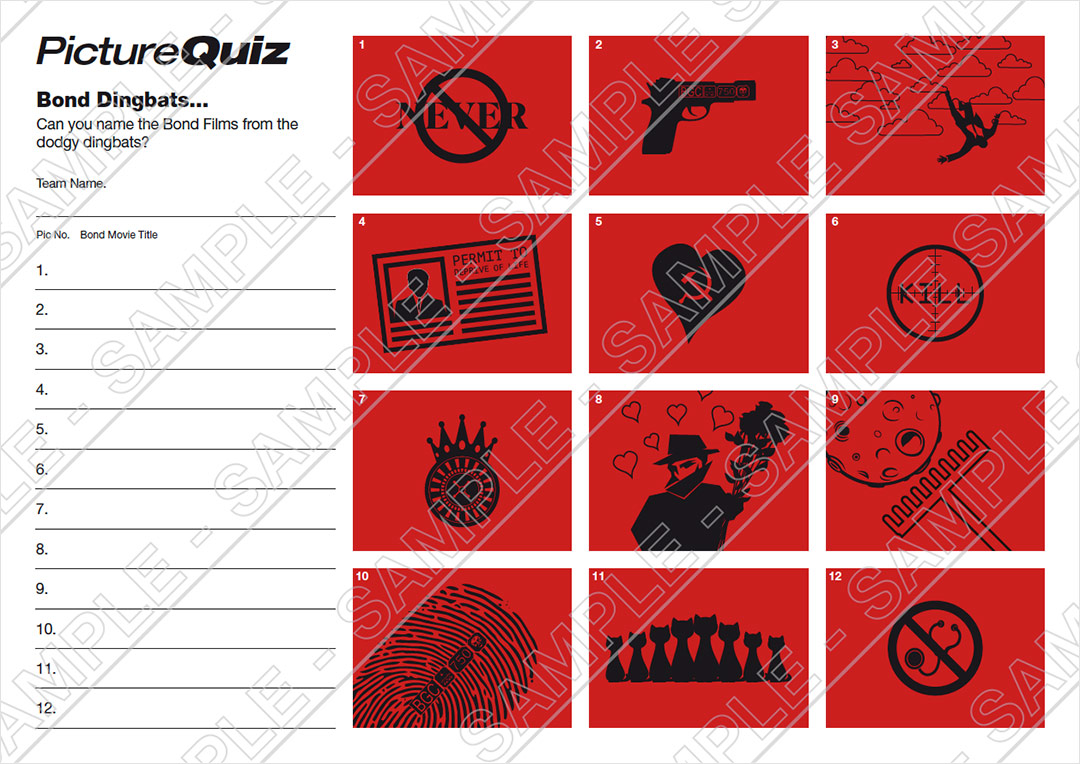 quiz number 029 with bond dingbats picture round