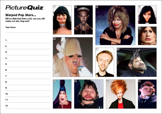 Quiz 041 Warped Pop Stars