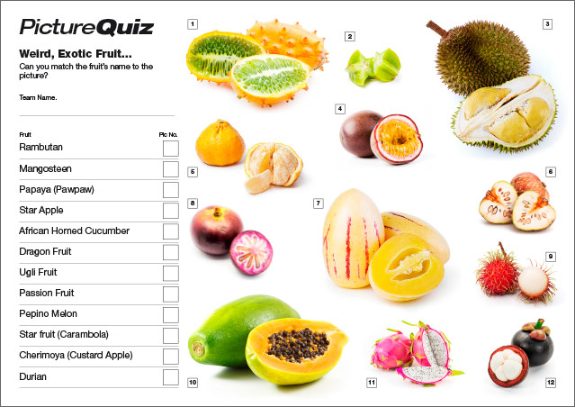 Quiz 047 Picture Round - Weird Fruit
