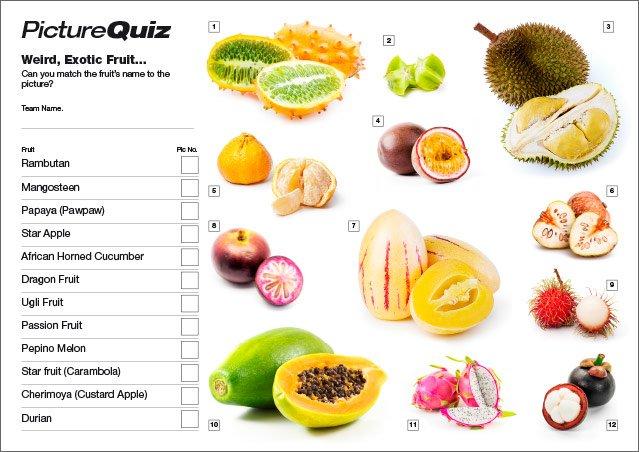 Quiz 047 Picture Round - Weird Fruit