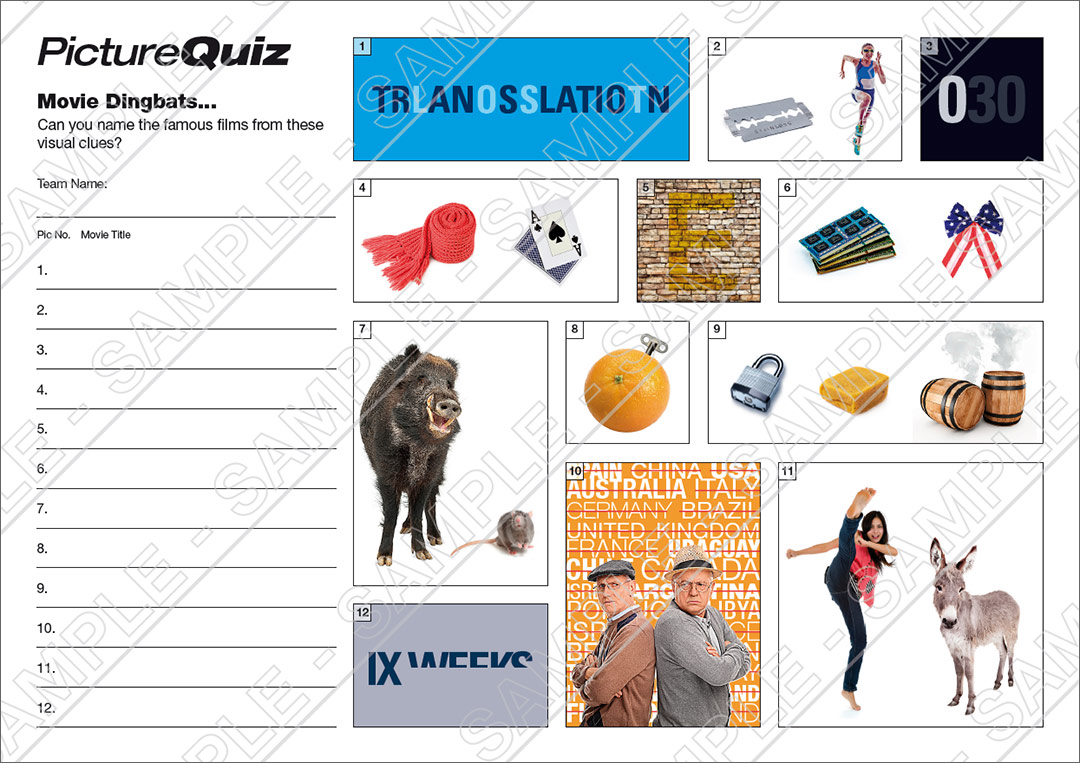 Quiz Number 052 With Movie Dingbats Picture Round