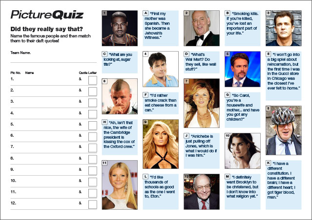 Quiz 054 Daft Celebrity Quotes