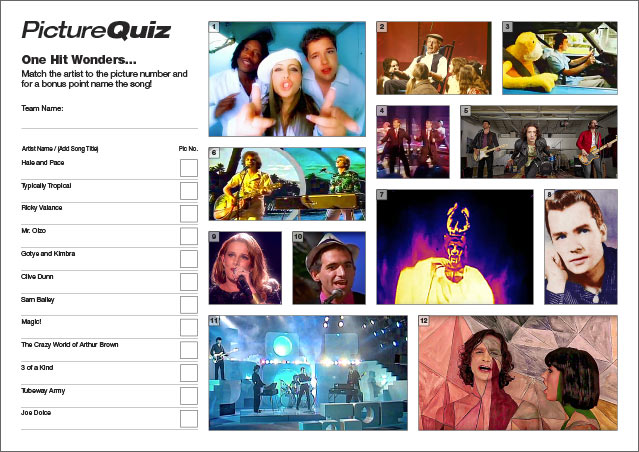Quiz 055 One Hit Wonders