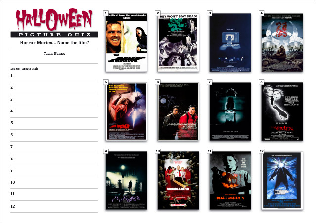 Halloween Picture Round on Horror Movies