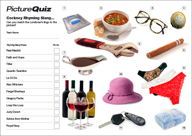 Quiz 081s Picture Round is Cockney Rhyming Slang