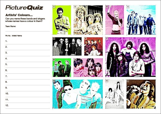 Quiz 134 Artists' Colours Picture Round