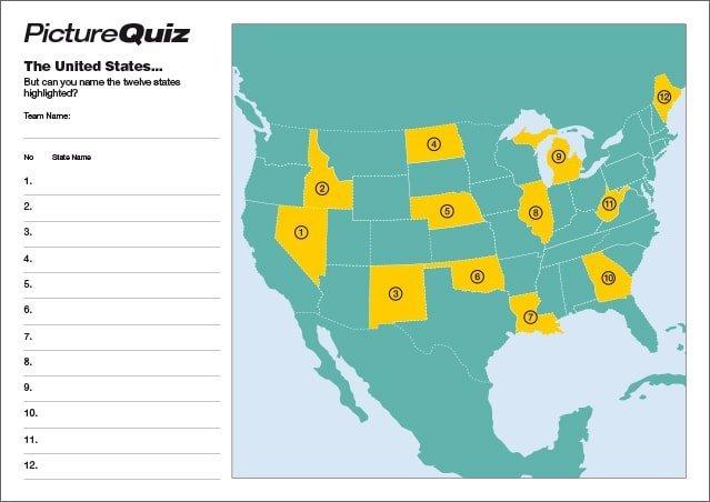 Quiz 135s States of America Picture Round