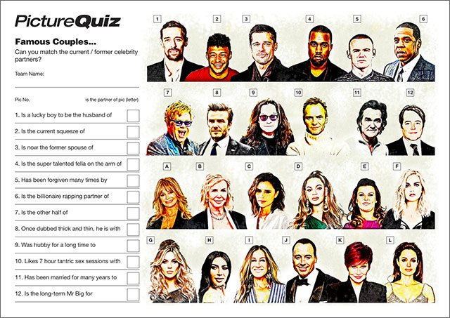 Quiz 136s Celebrity Couples Picture Round