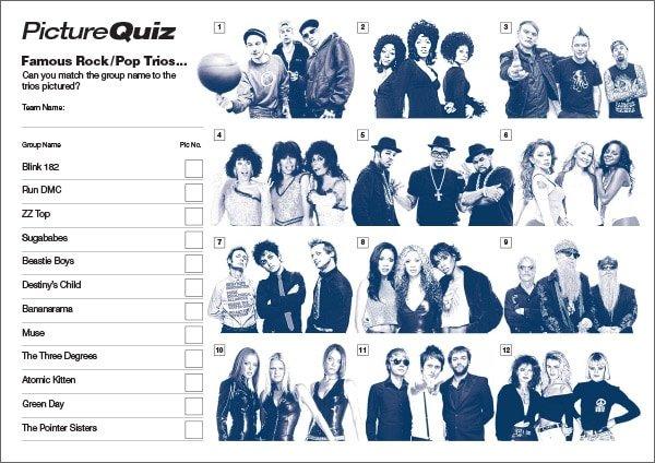 Q144s Famous Rock Pop Trios Picture Round